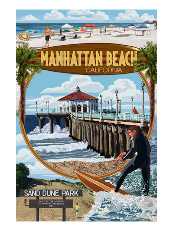 Manhattan Beach, California - Montage Scenes Prints by  Lantern Press