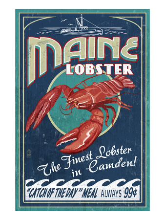 Camden, Maine - Lobster Posters by  Lantern Press