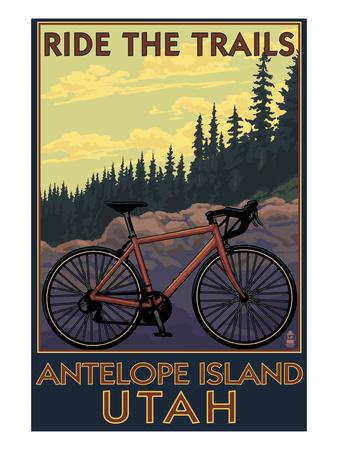 Antelope Island, Utah - Mountain Bike Scene Prints by  Lantern Press