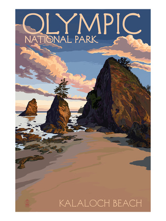 Kalaloch beach vintage olympic national park poster