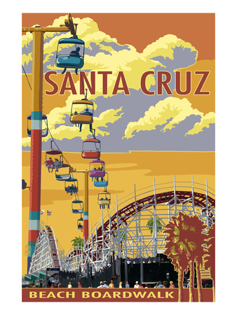 Santa Cruz, California - Beach Boardwalk Prints by  Lantern Press