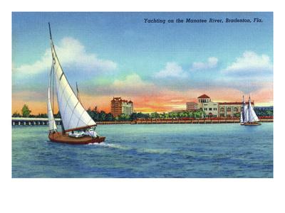 Bradenton, Florida - Sailboat on Manatee River Posters by  Lantern Press