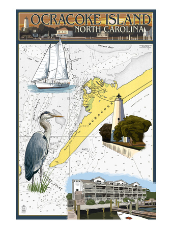 Ocracoke, Outer Banks, North Carolina - Nautical Chart Poster by  Lantern Press