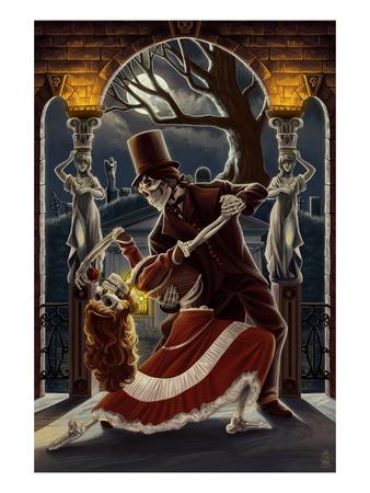 Skeletons Dancing in Graveyard Prints by  Lantern Press