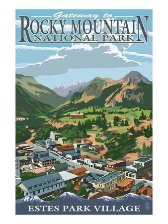 Estes Park Village, Colorado - Town View Prints by  Lantern Press