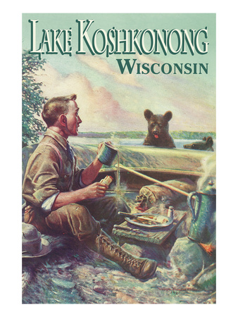 Lake Koshkonong, Wisconsin - Camping Scene Prints by  Lantern Press