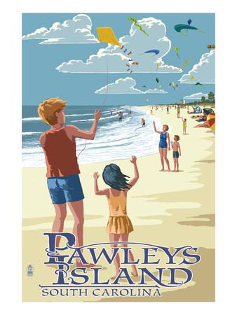 Pawleys Island, South Carolina - Kite Flyers Posters by  Lantern Press