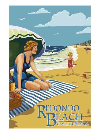 Redondo Beach, California - Woman on the Beach Art by  Lantern Press