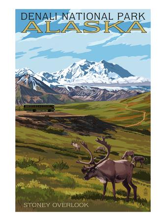 Denali National Park, Alaska - Caribou and Stoney Overlook Prints by  Lantern Press