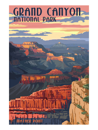 Grand Canyon Mather Point vintage national park poster
