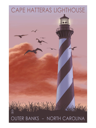 Cape Hatteras Lighthouse - North Carolina - Sunrise Posters by  Lantern Press