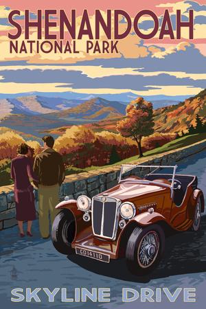 Shenandoah National Park, Virginia - Skyline Drive Poster by  Lantern Press
