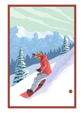 Snowboarder Prints by  Lantern Press