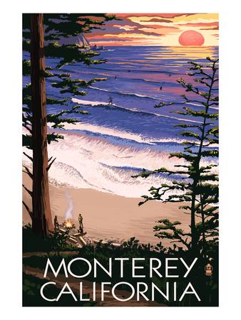 Monterey, California - Sunset and Beach Prints by  Lantern Press