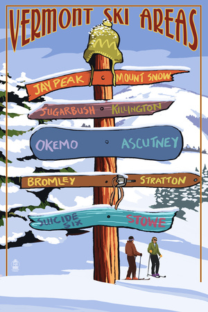 Vermont - Ski Areas Sign Destinations Art by  Lantern Press