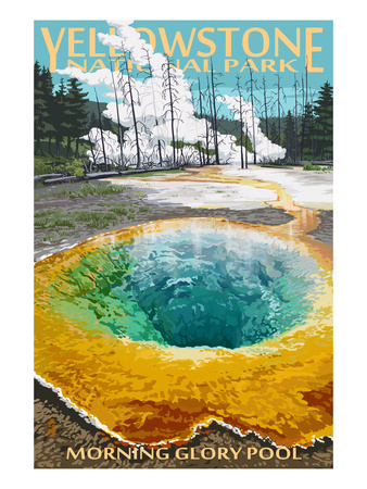 Morning glory pool hot spring vintage yellow stone national park poster