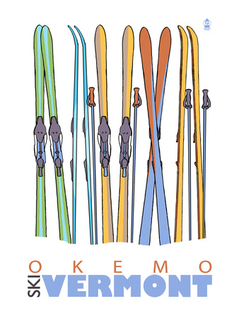 Okemo, Vermont - Skis in Snow Prints by  Lantern Press