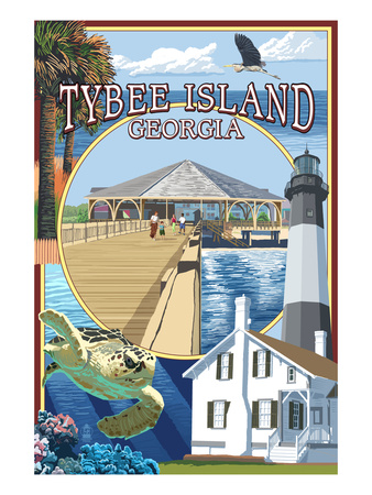 Tybee Island, Georgia - Montage Poster by  Lantern Press