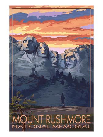Mount Rushmore National Memorial, South Dakota - Sunset View Prints by  Lantern Press