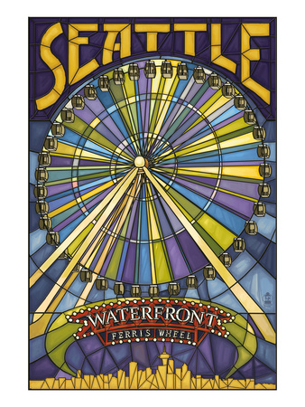 Waterfront Ferris Wheel - Seattle, Washington Posters by  Lantern Press