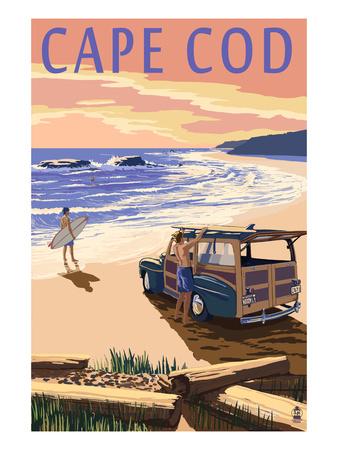 Cape Cod, Massachusetts - Woody on Beach Affischer av  Lantern Press
