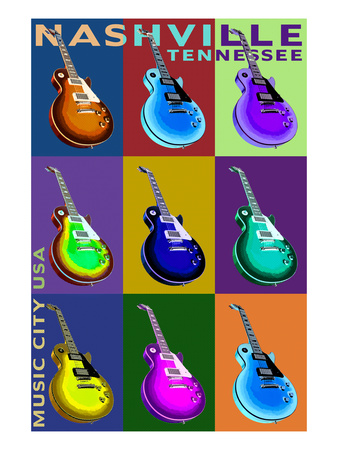 Nashville, Tennessee - Guitar Pop Art Posters by  Lantern Press