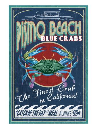 Pismo Beach, California - Blue Crabs Art by  Lantern Press