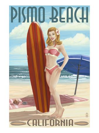 Pismo Beach, California - Surfer Pinup Girl Prints by  Lantern Press
