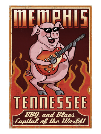 Memphis, Tennessee - Guitar Pig Prints by  Lantern Press