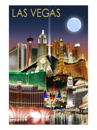 Las Vegas, Nevada - Las Vegas at Night Posters by  Lantern Press