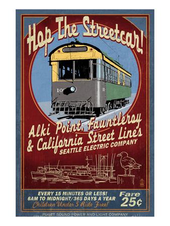 Seattle, Washington - West Seattle Streetcar Posters by  Lantern Press