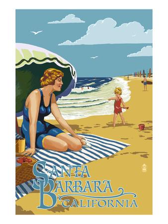 Santa Barbara, California - Woman on Beach Posters by  Lantern Press