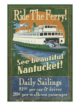 Nantucket, Massachusetts - Ferry Ride Print by  Lantern Press