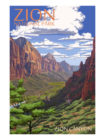 Zion National Park - Zion Canyon View Posters by  Lantern Press