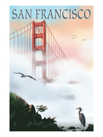 Golden Gate Bridge in Fog - San Francisco, California Póster por  Lantern Press