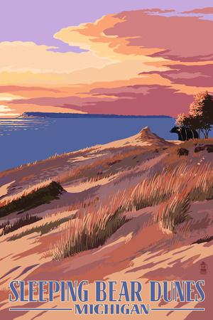 Sleeping Bear Dunes, Michigan - Dunes Sunset and Bear Print by  Lantern Press