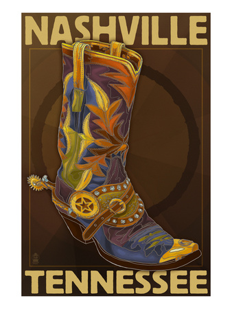 Nashville, Tennessee - Boot Prints by  Lantern Press