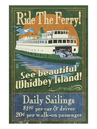 Whidbey Island, Washington - Ferry Prints by  Lantern Press