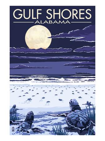 Gulf Shores, Alabama - Sea Turtles Print by  Lantern Press