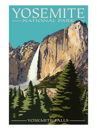 Yosemite Valley waterfall vintage national park california poster