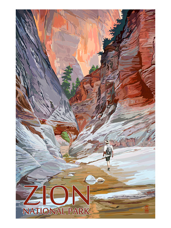Hiker walking through narrow slot canyon vintage zion national park poster