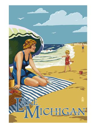 Lake Michigan - Beach Scene Poster by  Lantern Press