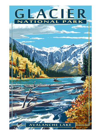 Avalance lake snow-covered mountains trees shoreline vintage glacier national park montana poster