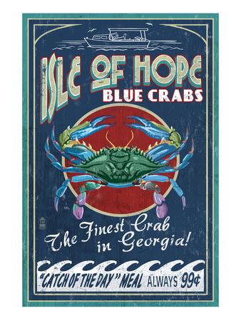 Isle of Hope, Georgia - Blue Crabs Prints by  Lantern Press