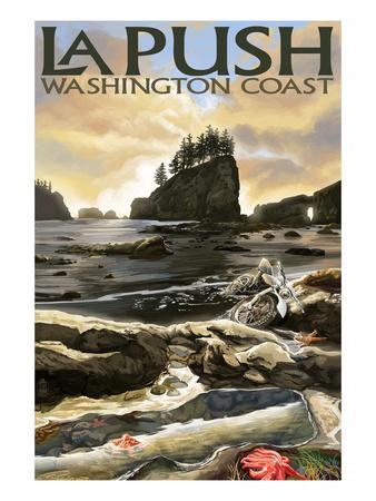 La Push Beach and Motorcycle, Washington Posters by  Lantern Press