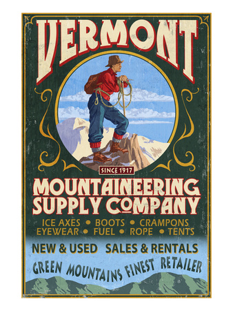 Vermont - Mountaineering Supply Company Art by  Lantern Press