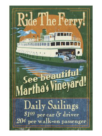 Martha's Vineyard, Massachusetts - Ferry Ride Prints by  Lantern Press