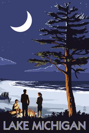 Lake Michigan - Bonfire at Night Scene Prints by  Lantern Press
