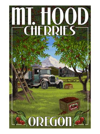 Mt. Hood, Oregon Cherries Posters by  Lantern Press