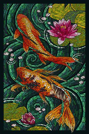 Koi - Paper Mosaic Prints by  Lantern Press